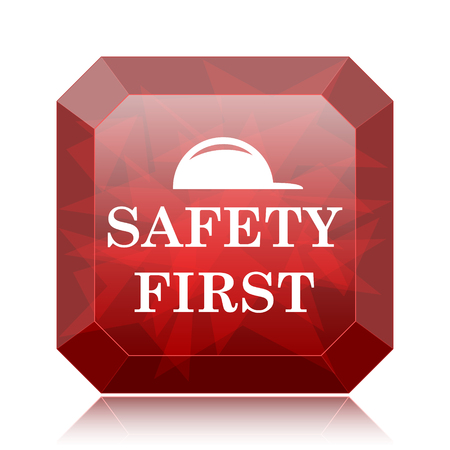 cautionary: Safety first icon, red website button on white background. Stock Photo