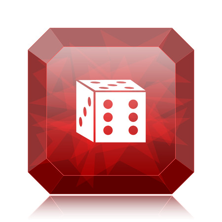 Dice icon, red website button on white background.