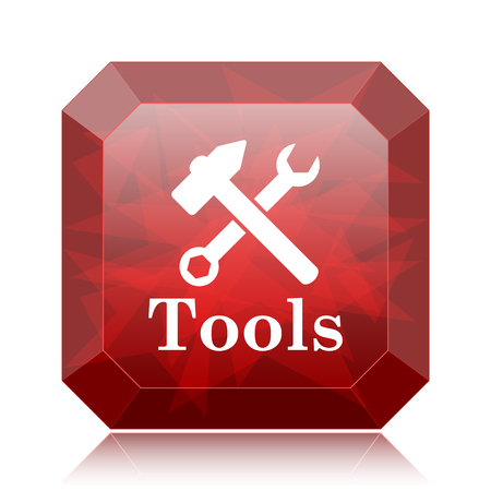 Tools icon, red website button on white background.