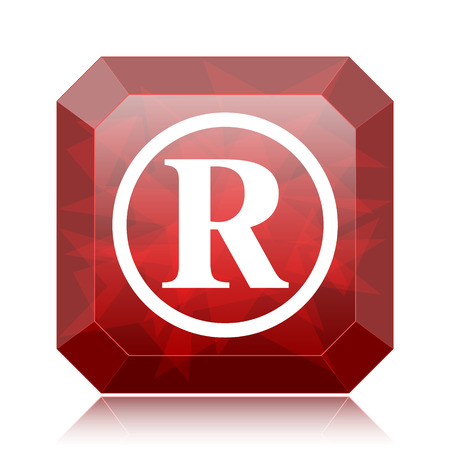 Registered mark icon, red website button on white background.