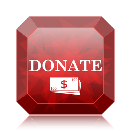 aiding: Donate icon, red website button on white background.