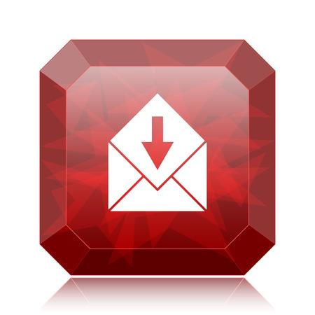 receive: Receive e-mail icon, red website button on white background. Stock Photo
