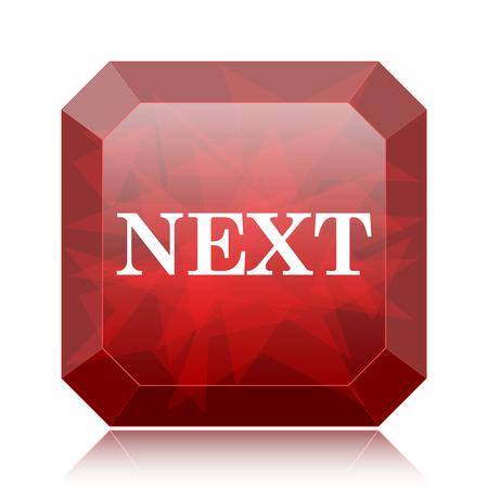 slideshow: Next icon, red website button on white background. Stock Photo