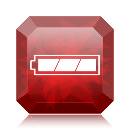 Fully charged battery icon, red website button on white background. Stock Photo