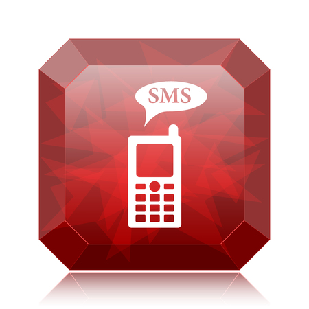 SMS icon, red website button on white background.