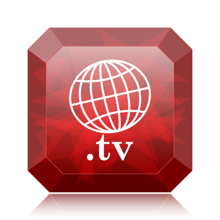 .tv icon, red website button on white background. Stock Photo