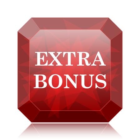 Extra bonus icon, red website button on white background. Stock Photo