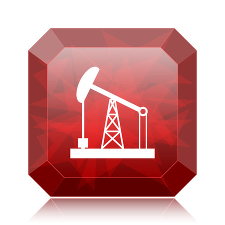 Oil pump icon, red website button on white background.