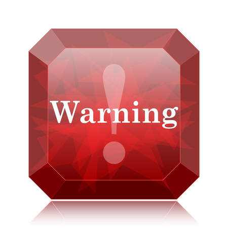 Warning icon, red website button on white background.