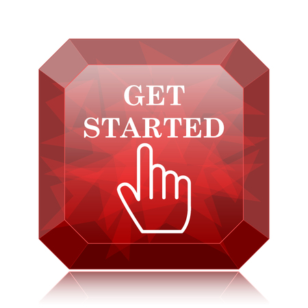 Get started icon, red website button on white background.