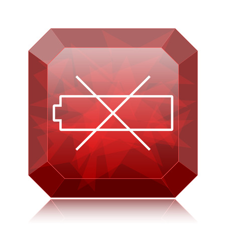 Empty battery icon, red website button on white background.
