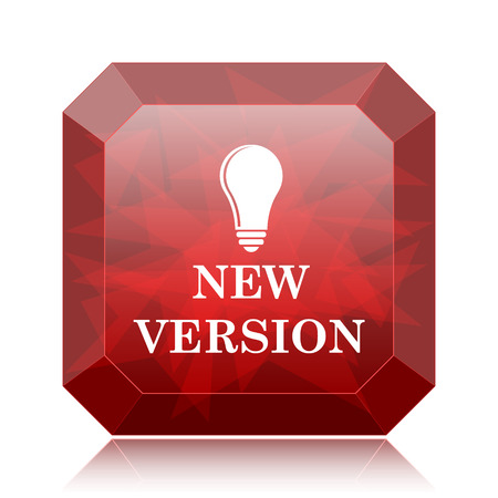 New version icon, red website button on white background.