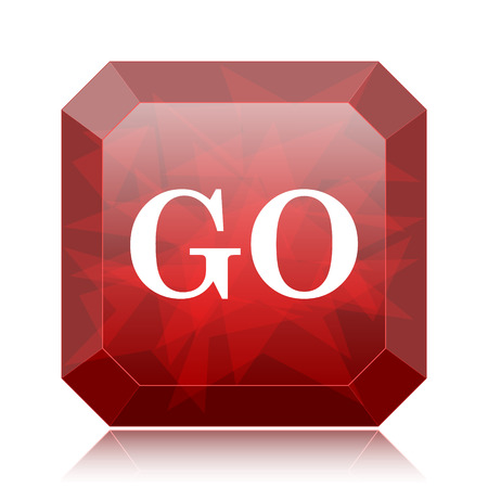 GO icon, red website button on white background.