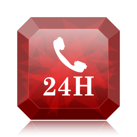 24H phone icon, red website button on white background. Stock Photo