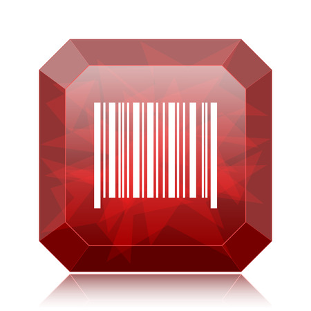 Barcode icon, red website button on white background. Stock Photo