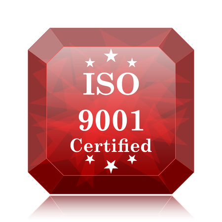 ISO9001 icon, red website button on white background. Stock Photo
