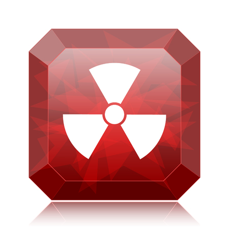 Radiation icon, red website button on white background.