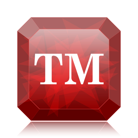 Trade mark icon, red website button on white background.