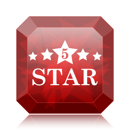 5 star icon, red website button on white background.