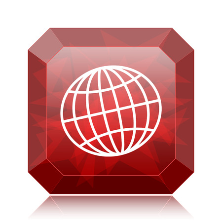 Globe icon, red website button on white background.