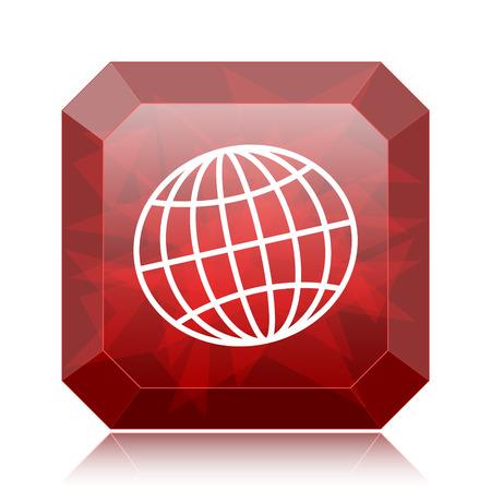 Icono del globo, botón rojo del sitio web sobre fondo blanco. Foto de archivo