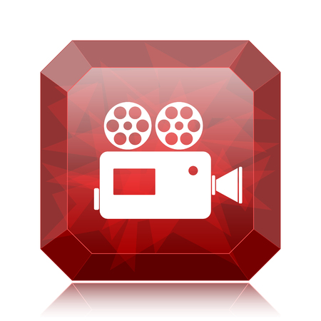Video camera icon, red website button on white background.