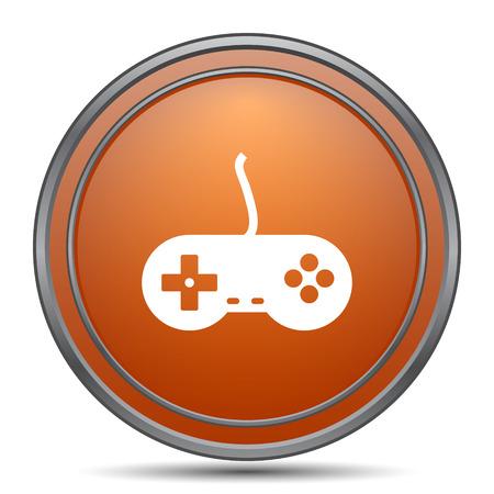 Gamepad icon. Orange internet button on white background. Stock Photo