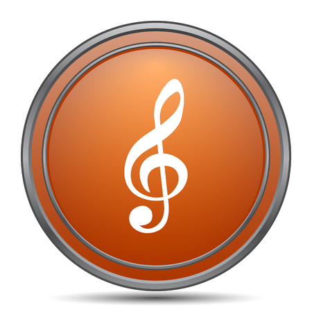 melodic: Musical note icon. Orange internet button on white background.