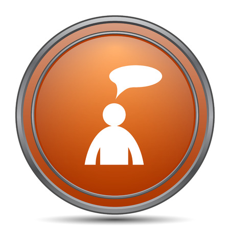 Comments icon. Orange internet button on white background. - man with bubble