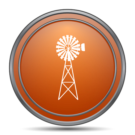 alternate: Classic windmill icon. Orange internet button on white background. Stock Photo