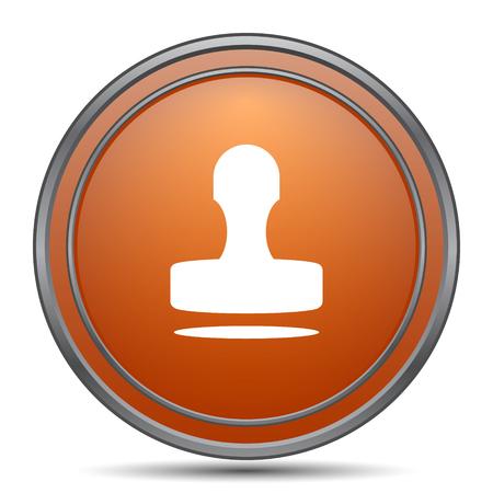 Stamp icon. Orange internet button on white background. Stock Photo