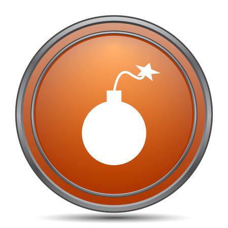Bomb icon. Orange internet button on white background.