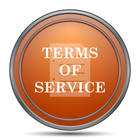 terms: Terms of service icon. Orange internet button on white background. Stock Photo