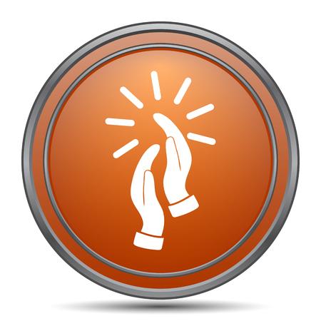 Applause icon. Orange internet button on white background.