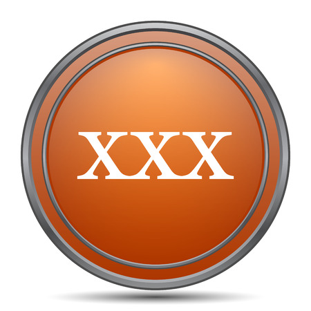 pornography: xxx icon. Orange internet button on white background.