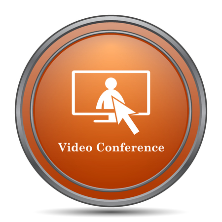Video conference, online meeting icon. Orange internet button on white background.