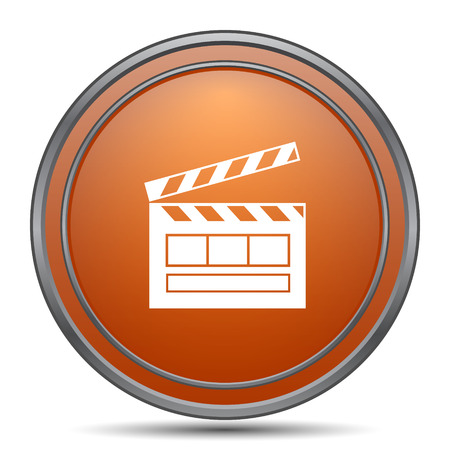 Movie icon. Orange internet button on white background.