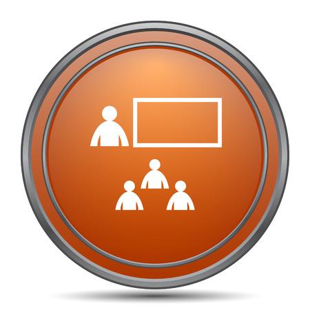 stage coach: Presenting icon. Orange internet button on white background.