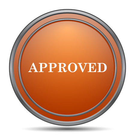 approved icon: Approved icon. Orange internet button on white background.