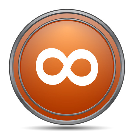 infinity sign: Infinity sign icon. Orange internet button on white background. Stock Photo