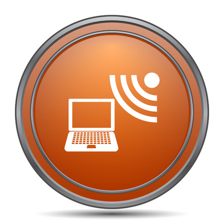wireless internet: Wireless laptop icon. Orange internet button on white background. Stock Photo
