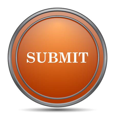 submitting: Submit icon. Orange internet button on white background. Stock Photo