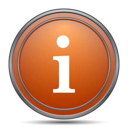 Info icon. Orange internet button on white background.