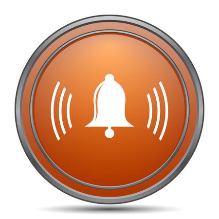 Bell icon. Orange internet button on white background.