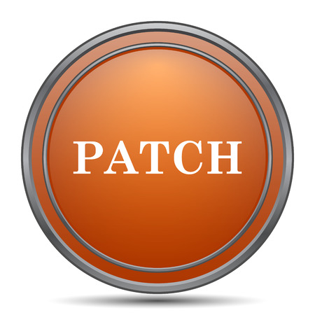 Patch icon. Orange internet button on white background. Stock Photo