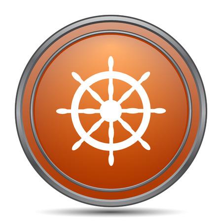 Nautical wheel icon. Orange internet button on white background.
