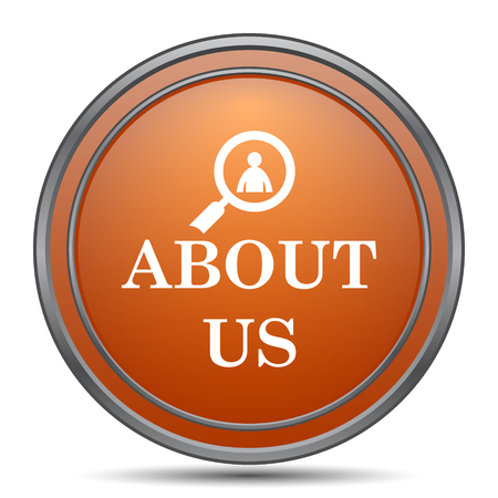 about us: About us icon. Orange internet button on white background. Stock Photo