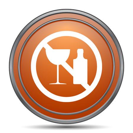 No alcohol icon. Orange internet button on white background.