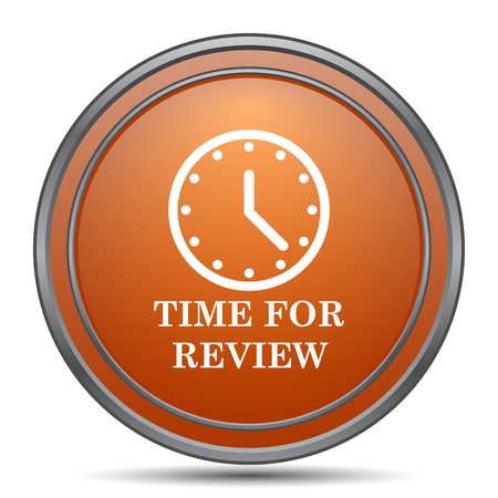 revision: Time for review icon. Orange internet button on white background. Stock Photo