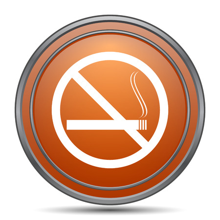 No smoking icon. Orange internet button on white background.